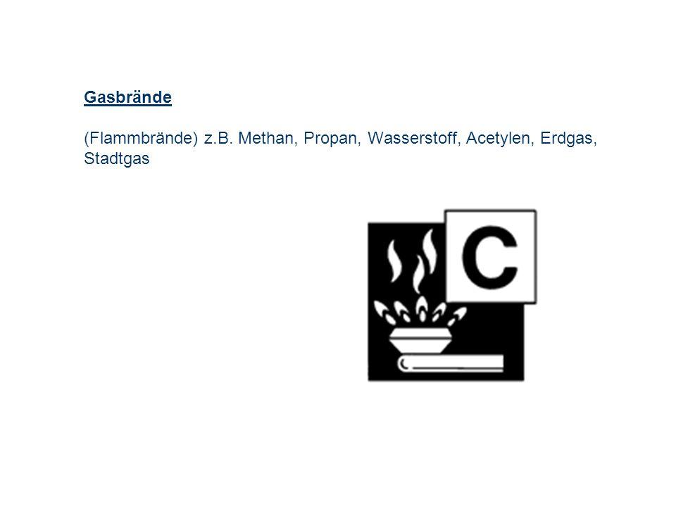 Gasbrände (Flammbrände) z.B. Methan, Propan, Wasserstoff, Acetylen, Erdgas, Stadtgas