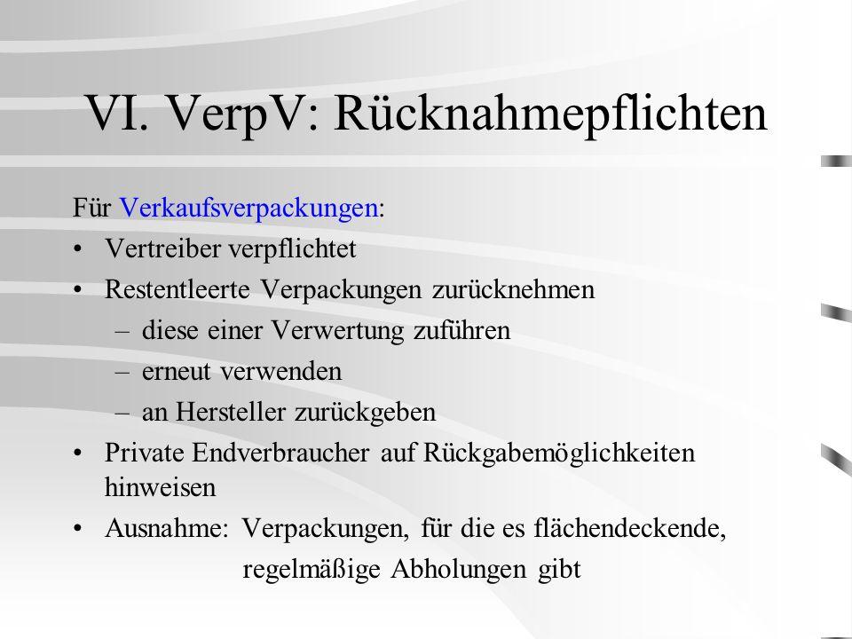 VI. VerpV: Rücknahmepflichten