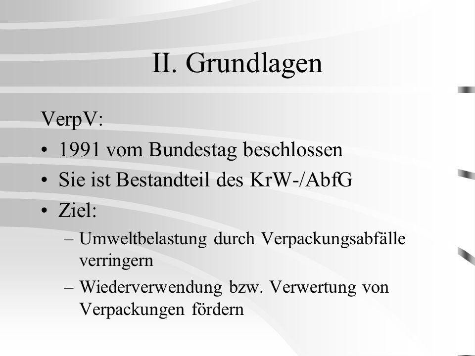 II. Grundlagen VerpV: 1991 vom Bundestag beschlossen