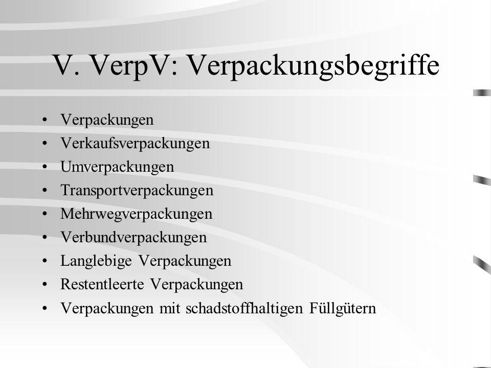 V. VerpV: Verpackungsbegriffe