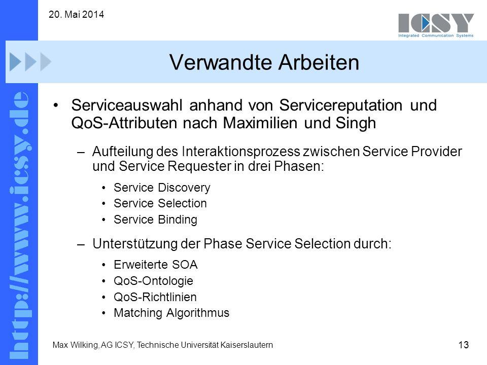 31. März 2017 Verwandte Arbeiten. Serviceauswahl anhand von Servicereputation und QoS-Attributen nach Maximilien und Singh.