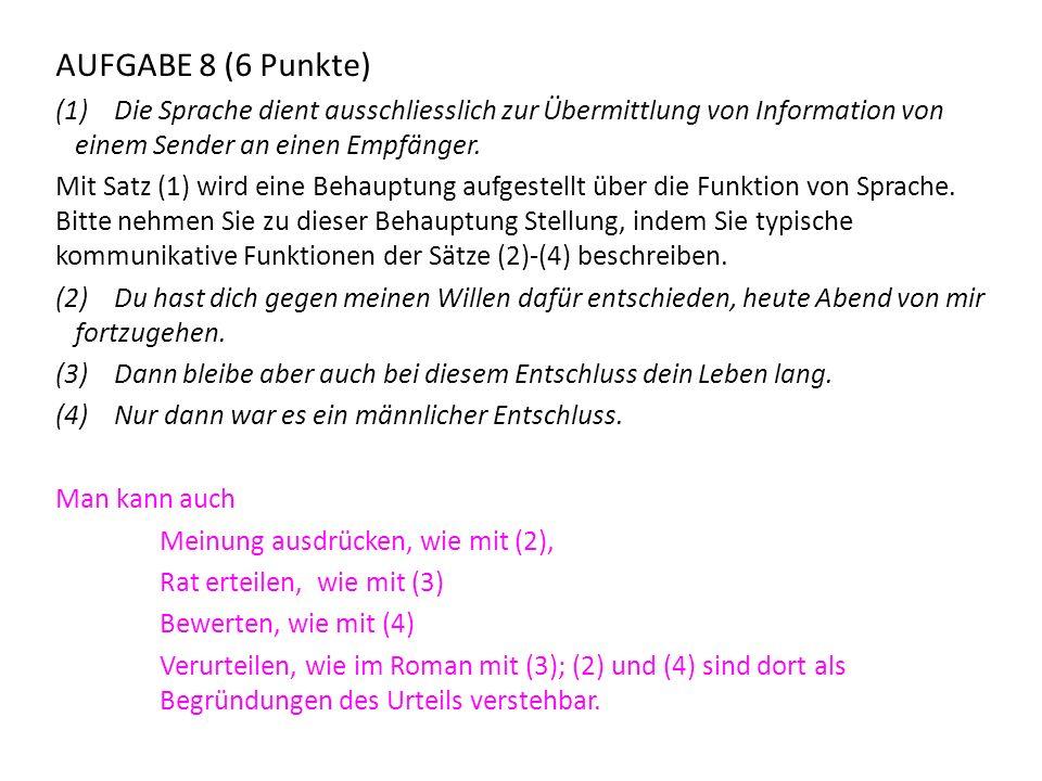 AUFGABE 8 (6 Punkte) Die Sprache dient ausschliesslich zur Übermittlung von Information von einem Sender an einen Empfänger.