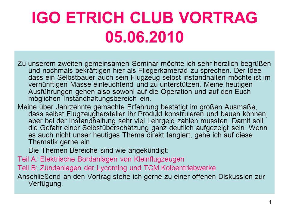 IGO ETRICH CLUB VORTRAG 05.06.2010