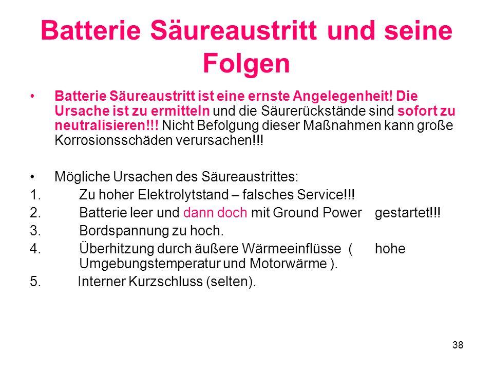 Batterie Säureaustritt und seine Folgen