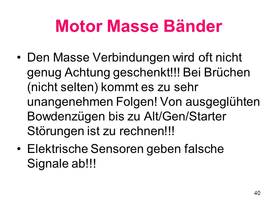 Motor Masse Bänder