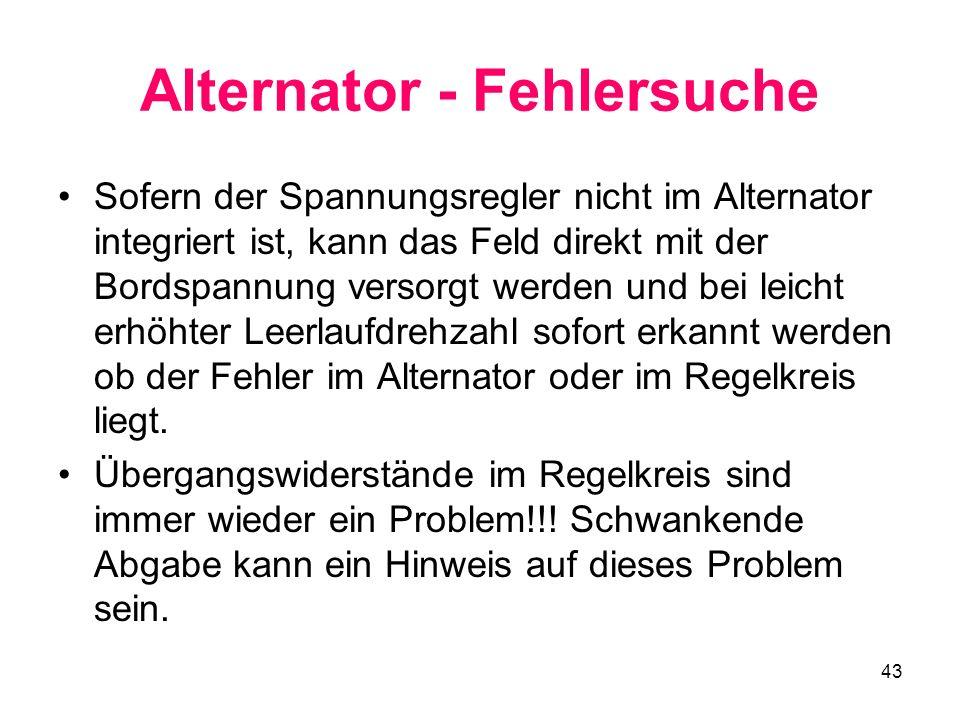 Alternator - Fehlersuche
