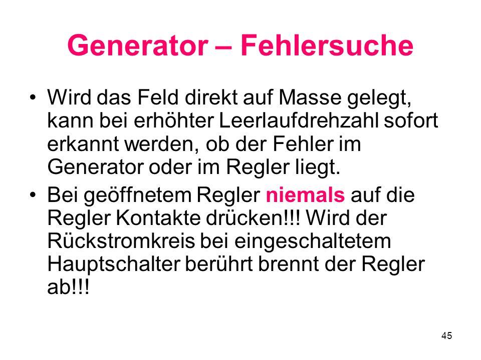 Generator – Fehlersuche