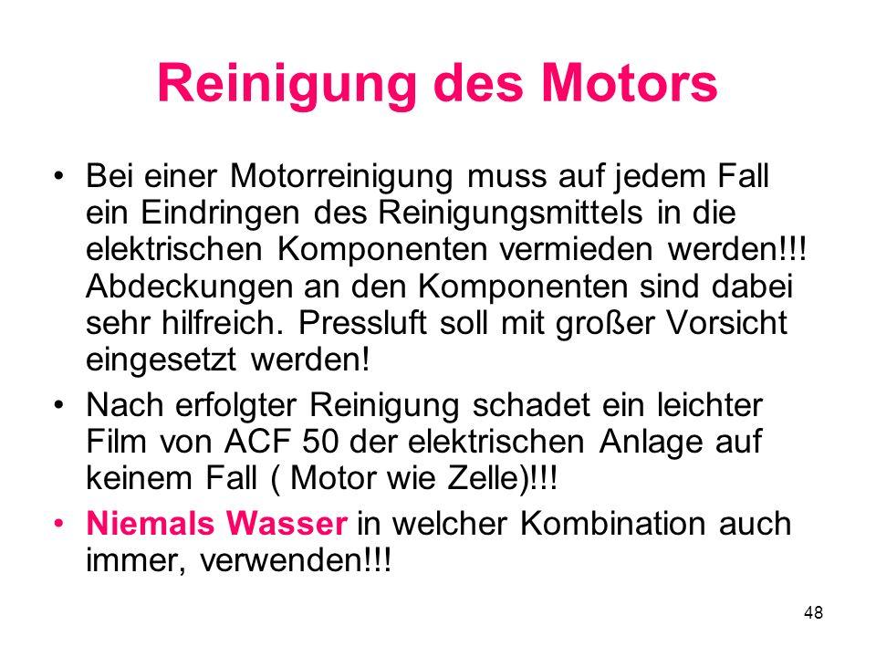 Reinigung des Motors
