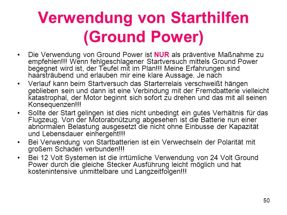 Verwendung von Starthilfen (Ground Power)