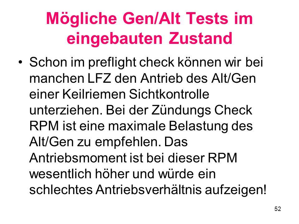 Mögliche Gen/Alt Tests im eingebauten Zustand