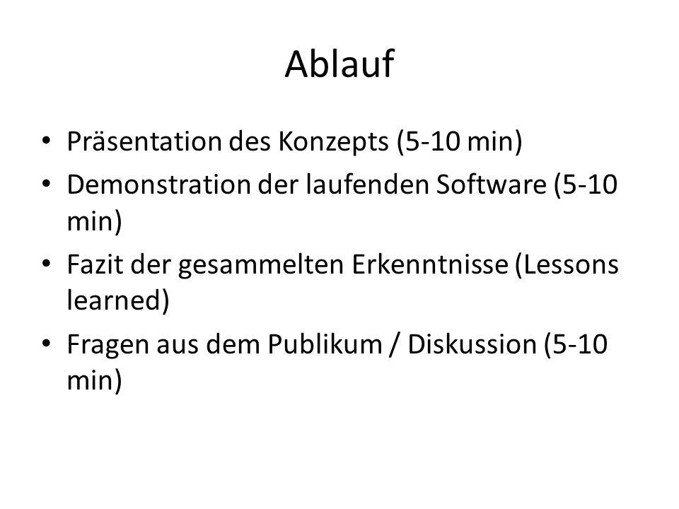Ablauf Präsentation des Konzepts (5-10 min)