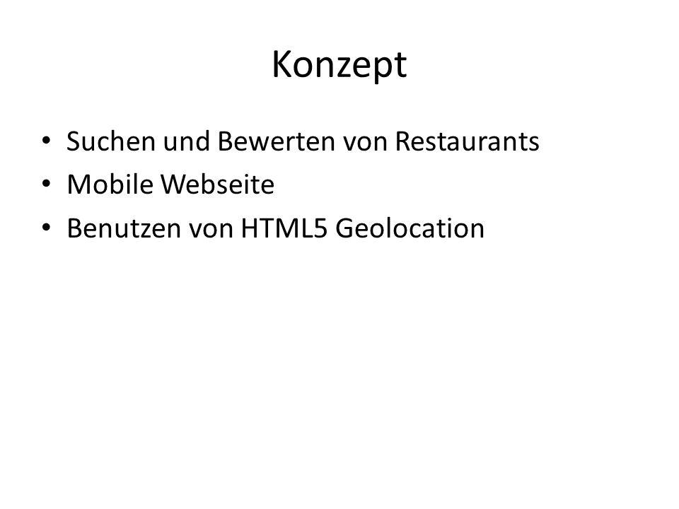 Konzept Suchen und Bewerten von Restaurants Mobile Webseite