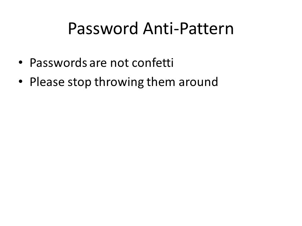 Password Anti-Pattern