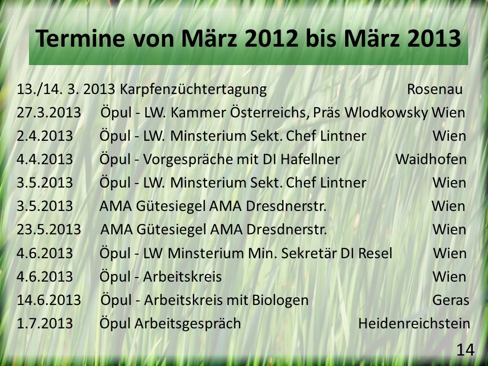 Termine von März 2012 bis März 2013