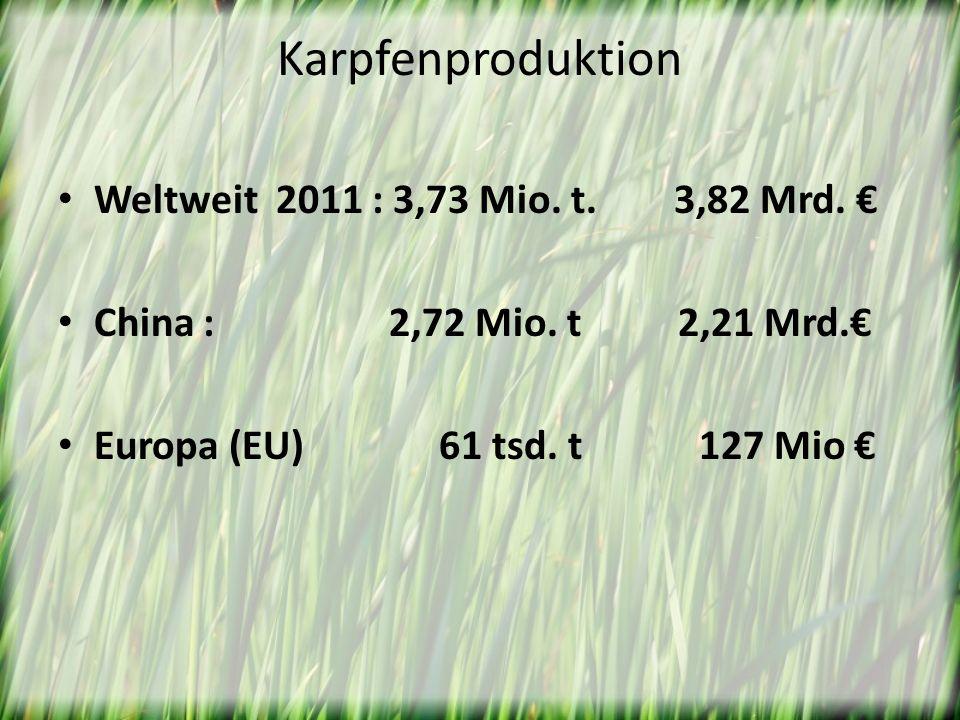 Karpfenproduktion Weltweit 2011 : 3,73 Mio. t. 3,82 Mrd. €