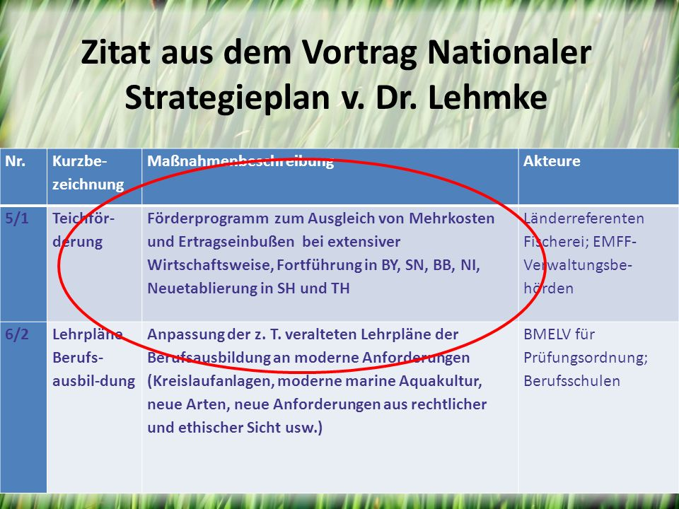 Zitat aus dem Vortrag Nationaler Strategieplan v. Dr. Lehmke