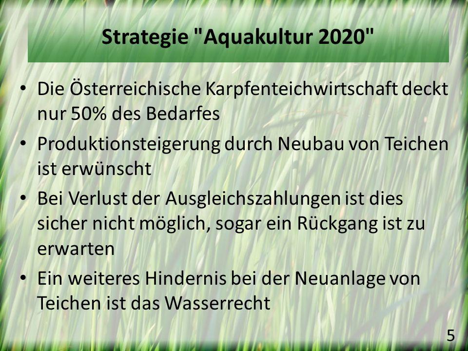 Strategie Aquakultur 2020 Die Österreichische Karpfenteichwirtschaft deckt nur 50% des Bedarfes.