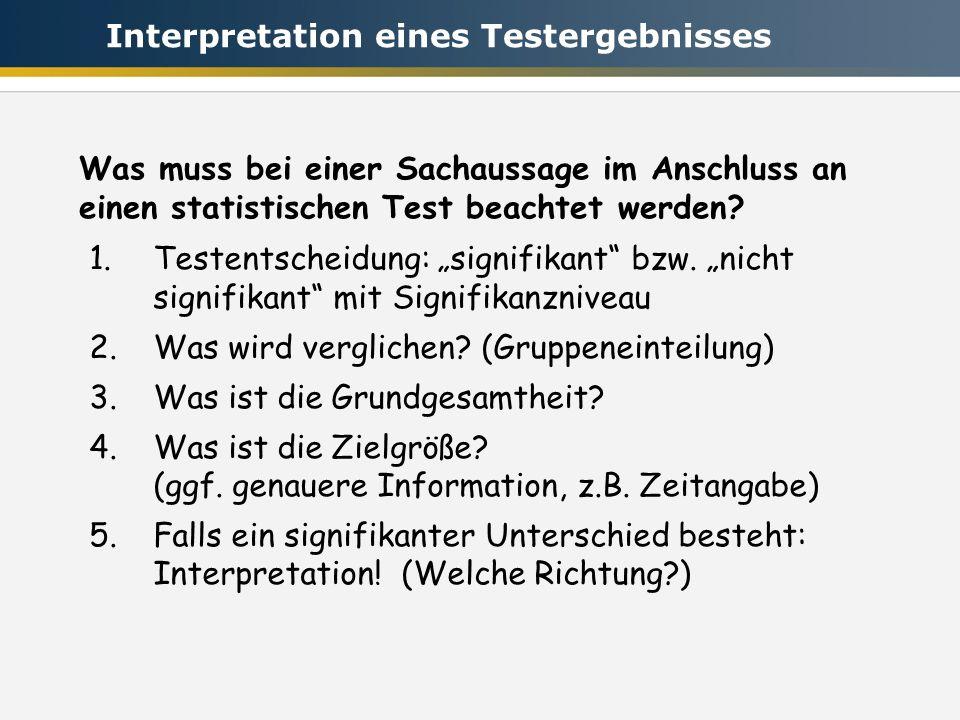Interpretation eines Testergebnisses