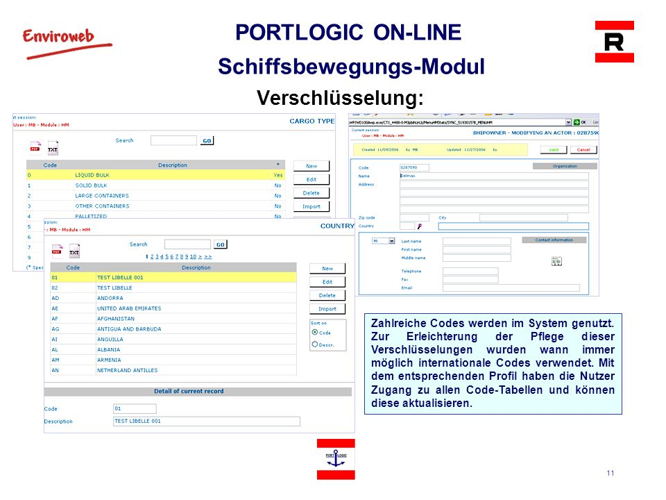 PORTLOGIC ON-LINE Schiffsbewegungs-Modul