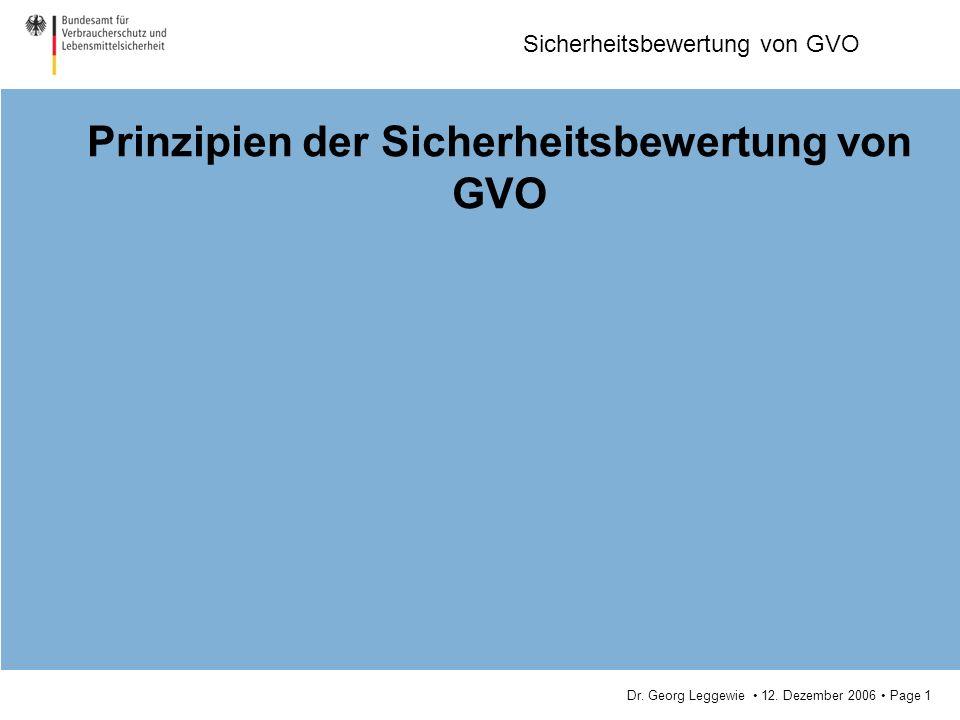 Prinzipien der Sicherheitsbewertung von GVO