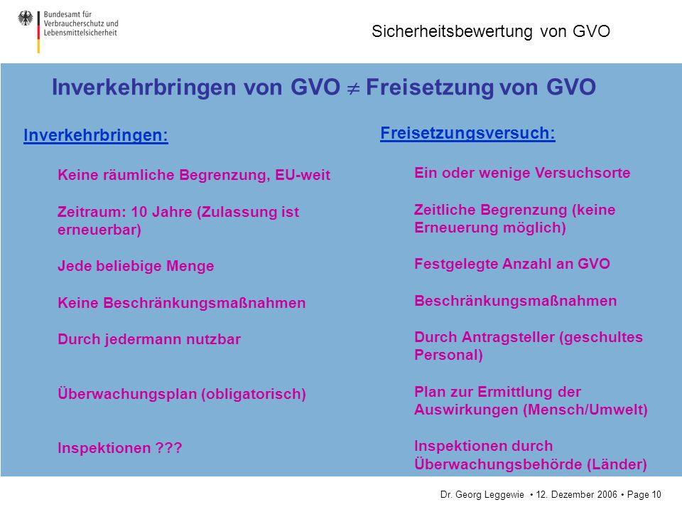 Inverkehrbringen von GVO  Freisetzung von GVO