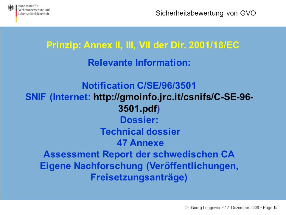 Prinzip: Annex II, III, VII der Dir. 2001/18/EC