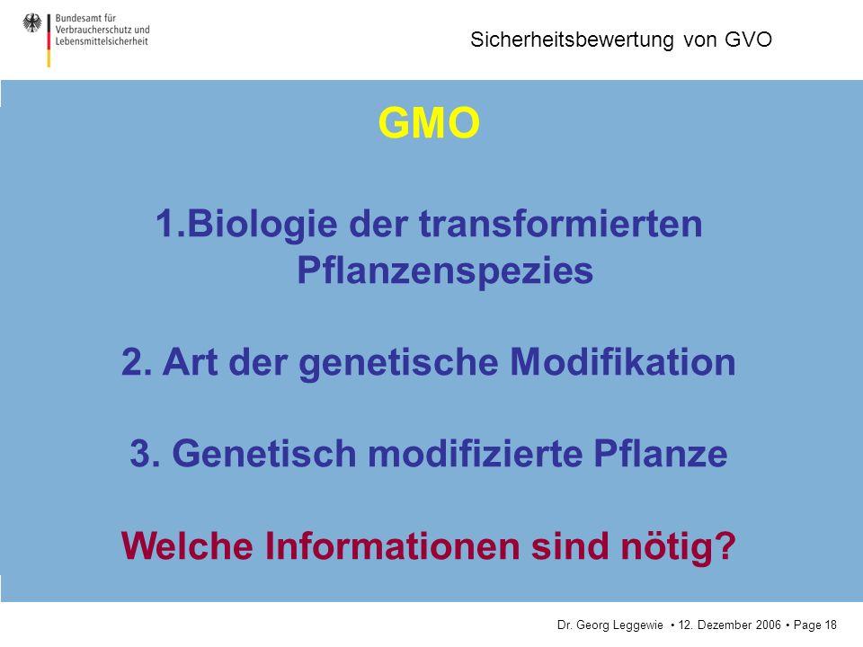 GMO Biologie der transformierten Pflanzenspezies