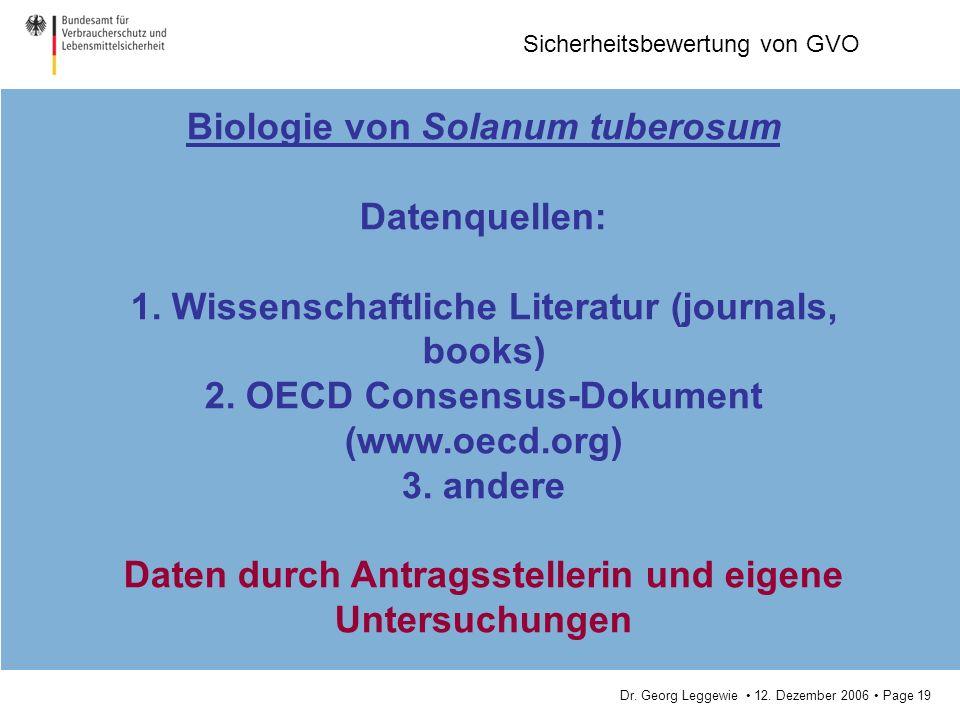 Biologie von Solanum tuberosum Datenquellen: