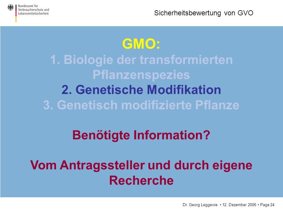 GMO: 1. Biologie der transformierten Pflanzenspezies