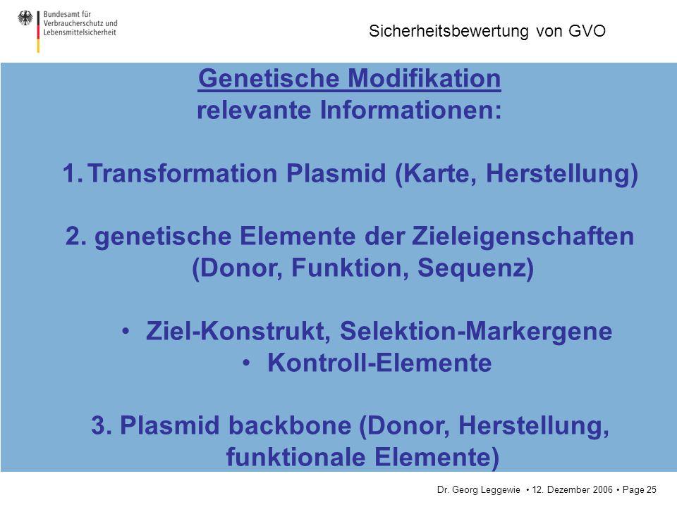 Genetische Modifikation relevante Informationen: