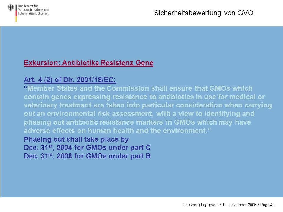 Exkursion: Antibiotika Resistenz Gene