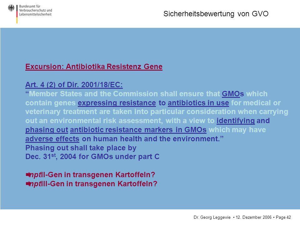 Excursion: Antibiotika Resistenz Gene
