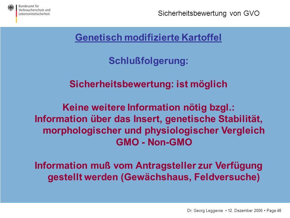 Genetisch modifizierte Kartoffel Schlußfolgerung: