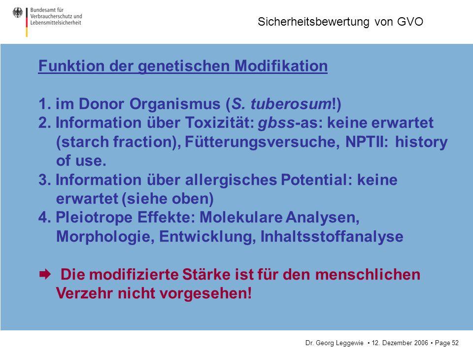 Funktion der genetischen Modifikation