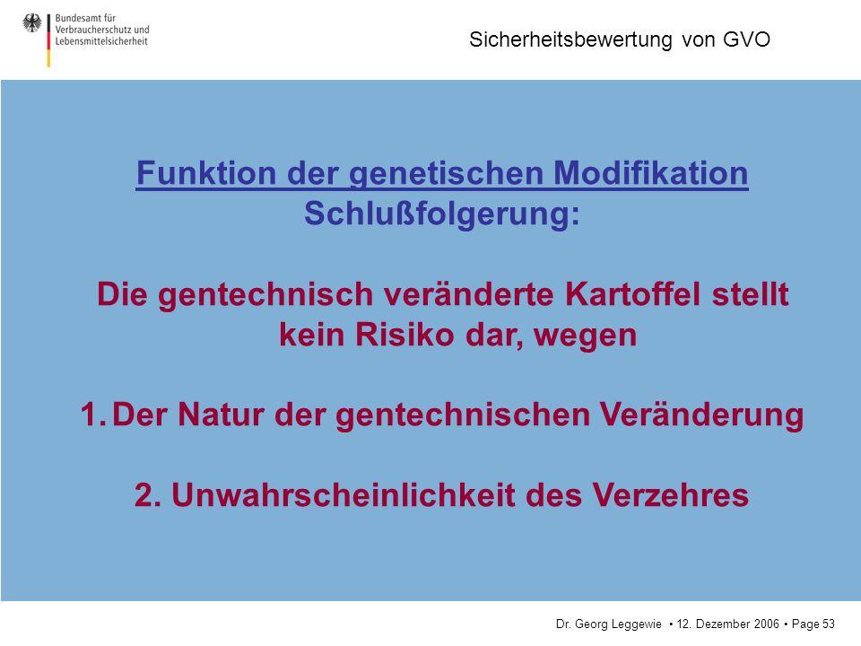 Funktion der genetischen Modifikation Schlußfolgerung: