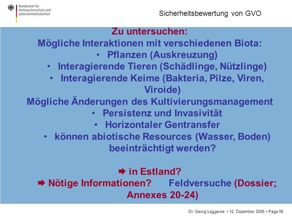 Mögliche Interaktionen mit verschiedenen Biota: Pflanzen (Auskreuzung)