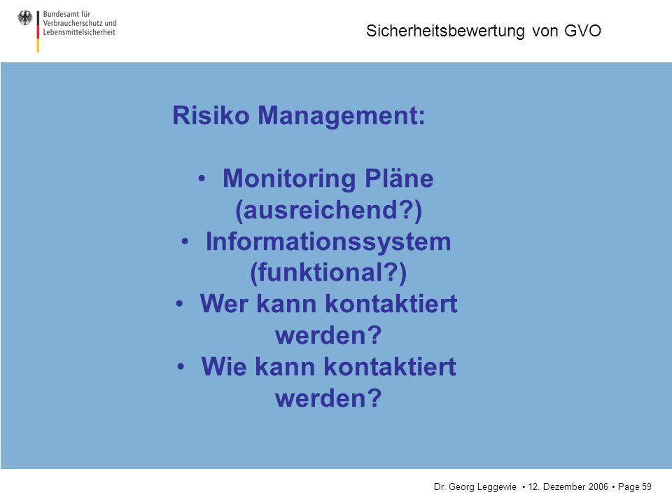 Monitoring Pläne (ausreichend ) Informationssystem (funktional )