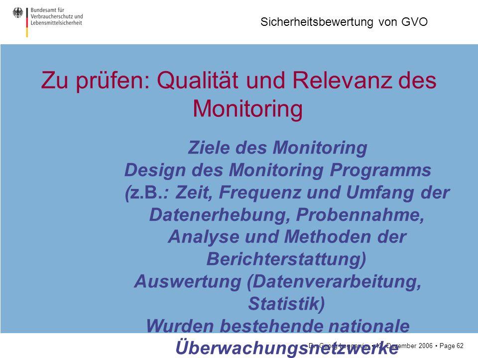 Zu prüfen: Qualität und Relevanz des Monitoring