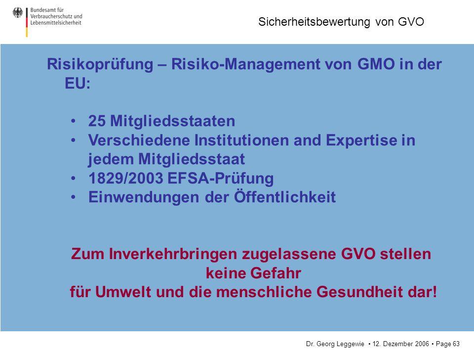 Risikoprüfung – Risiko-Management von GMO in der EU: