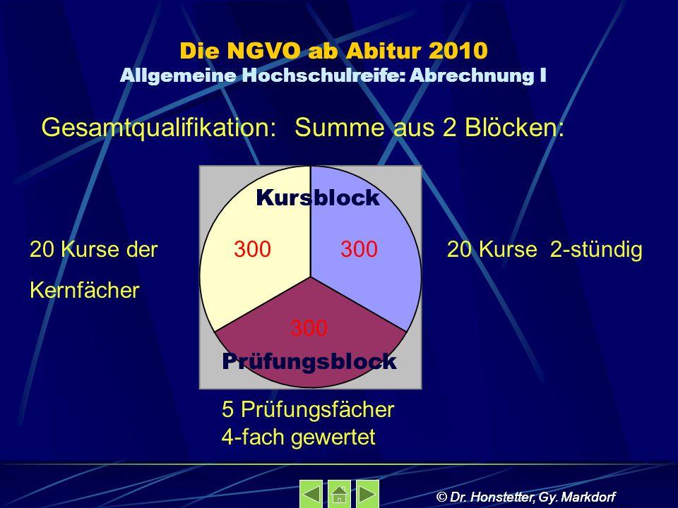 Die NGVO ab Abitur 2010 Allgemeine Hochschulreife: Abrechnung I