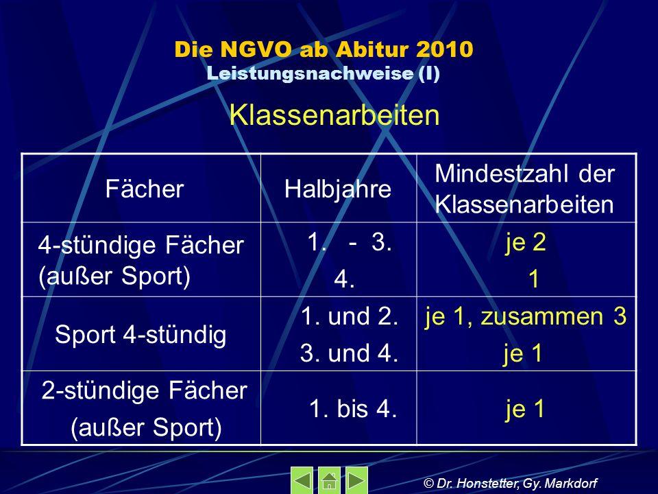 Die NGVO ab Abitur 2010 Leistungsnachweise (I)