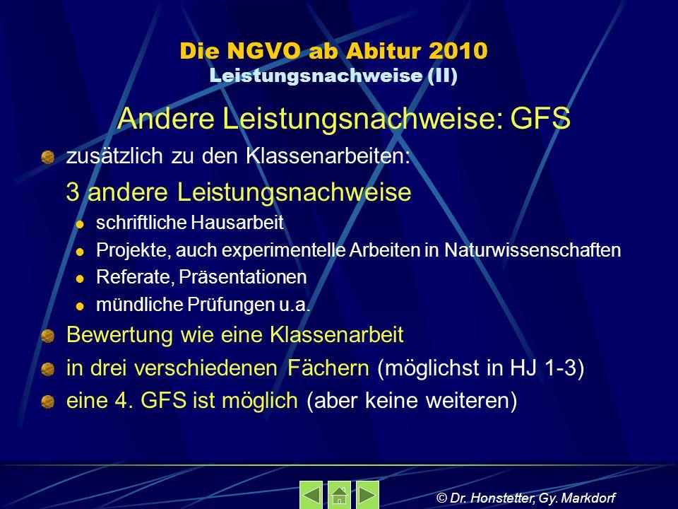 Die NGVO ab Abitur 2010 Leistungsnachweise (II)