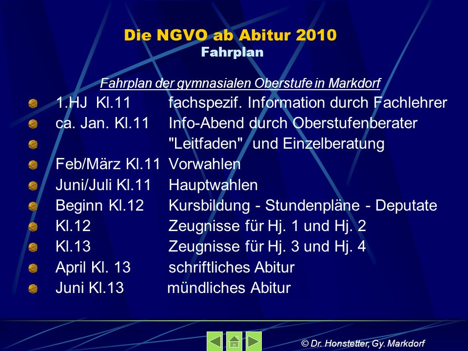Die NGVO ab Abitur 2010 Fahrplan