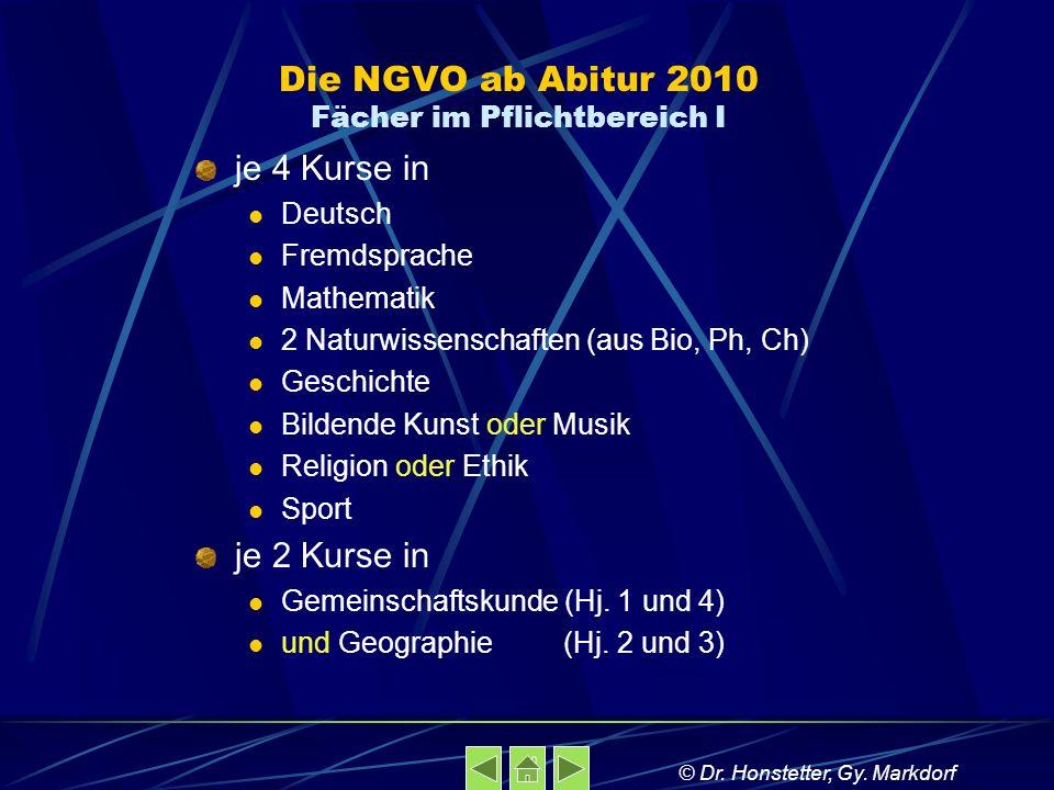 Die NGVO ab Abitur 2010 Fächer im Pflichtbereich I
