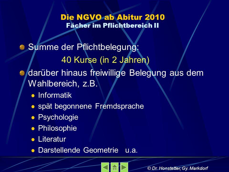 Die NGVO ab Abitur 2010 Fächer im Pflichtbereich II