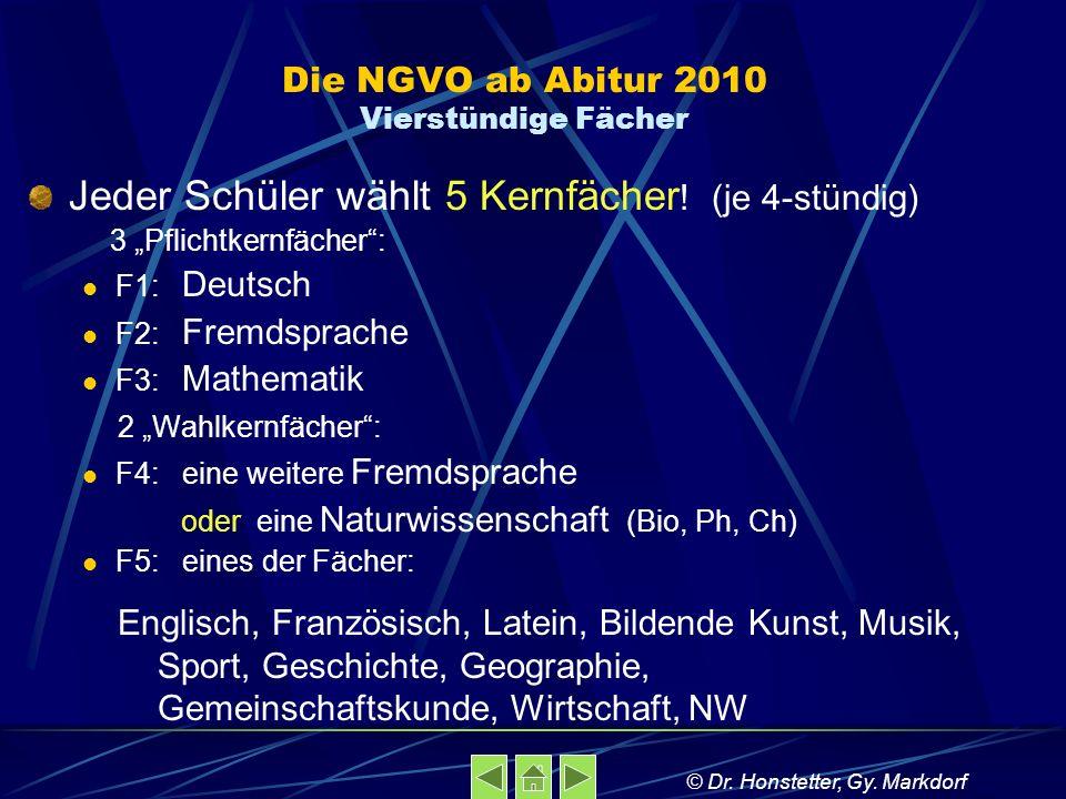 Die NGVO ab Abitur 2010 Vierstündige Fächer