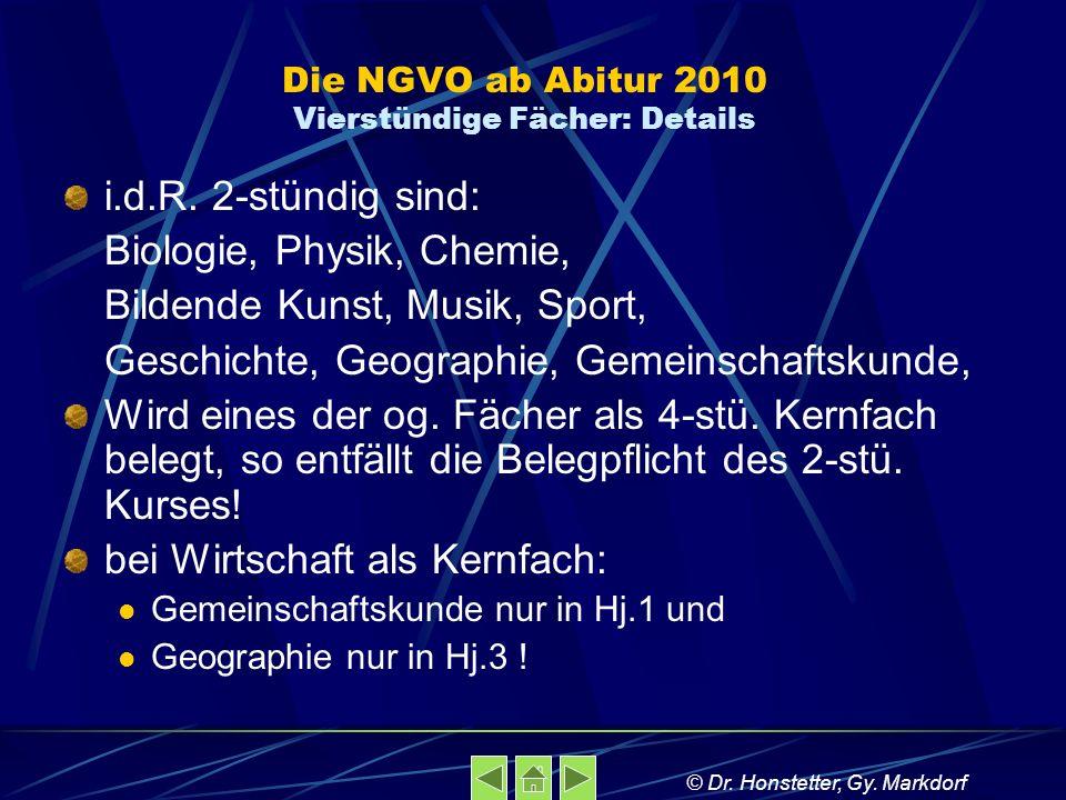 Die NGVO ab Abitur 2010 Vierstündige Fächer: Details