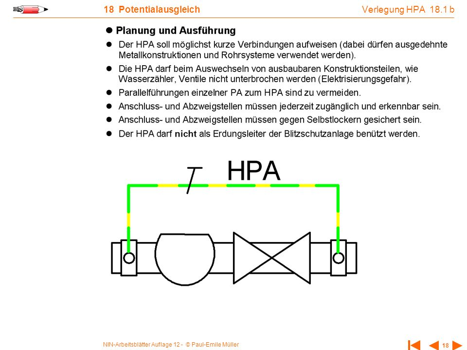 Verlegung HPA 18.1 b 18 Potentialausgleich