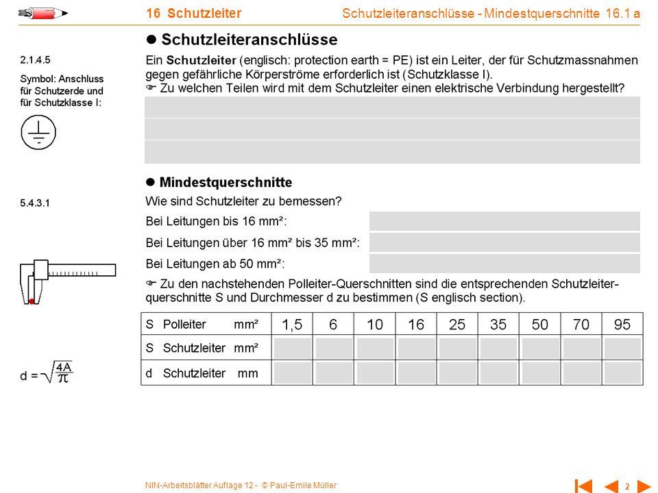 Schutzleiteranschlüsse - Mindestquerschnitte 16.1 a