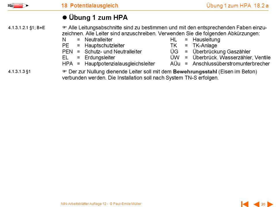 Übung 1 zum HPA 18.2 a 18 Potentialausgleich